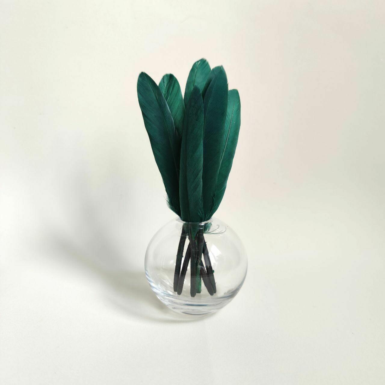 Перья утки темно-зеленые 15 шт.