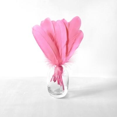 Гусиные перья розовые ровные 20шт.