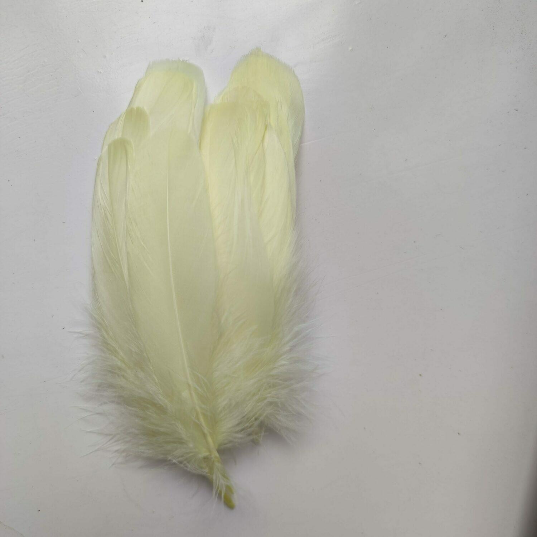 Гусиные перья лимонные скругленные 20шт.