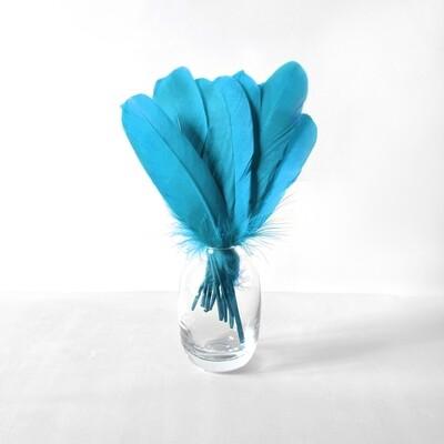 Гусиные перья голубые ровные 20шт.
