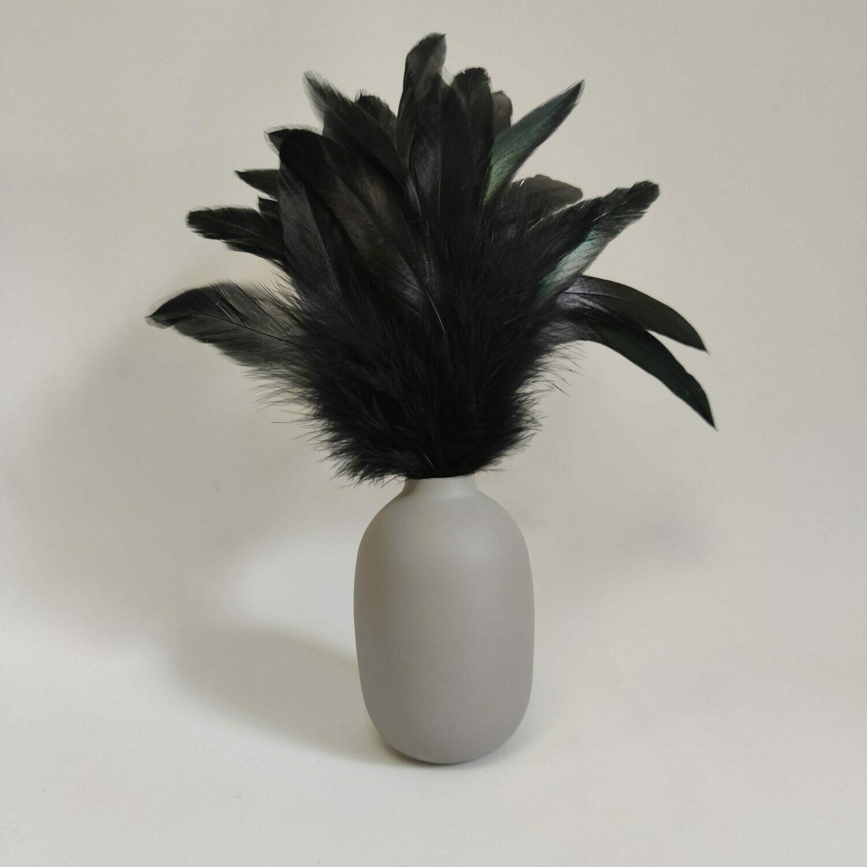 Перья петуха черные двухцветные 15 - 20 см. 20 шт.