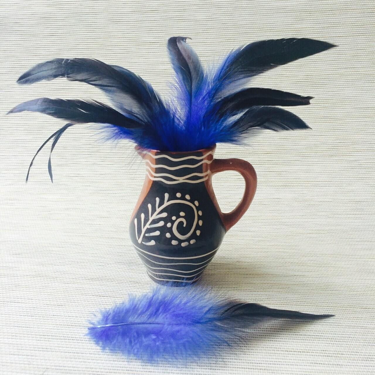 Перья петуха синие двухцветные 15 - 20 см. 20 шт.