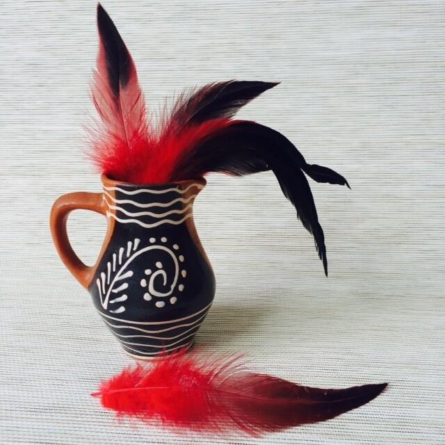 Перья петуха красные двухцветные 15 - 20 см. 20 шт.