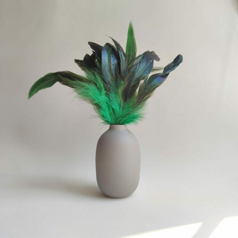 Перья петуха малахит двухцветные 15 - 20 см. 20 шт.