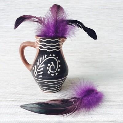Перья петуха фиолетовые двухцветные 8 - 13 см. 20 шт.