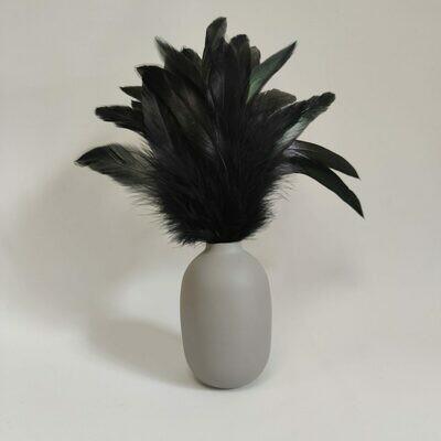 Перья петуха черные двухцветные 10 - 15 см. 20 шт.
