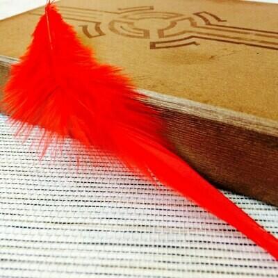 Перья петуха красные 5 - 10 см. 20 шт.