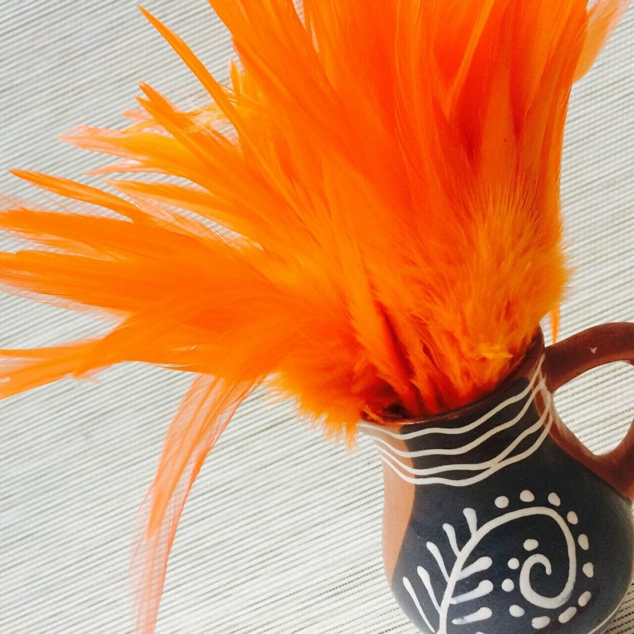 Перья петуха оранжевые 10 - 15 см. 20 шт.