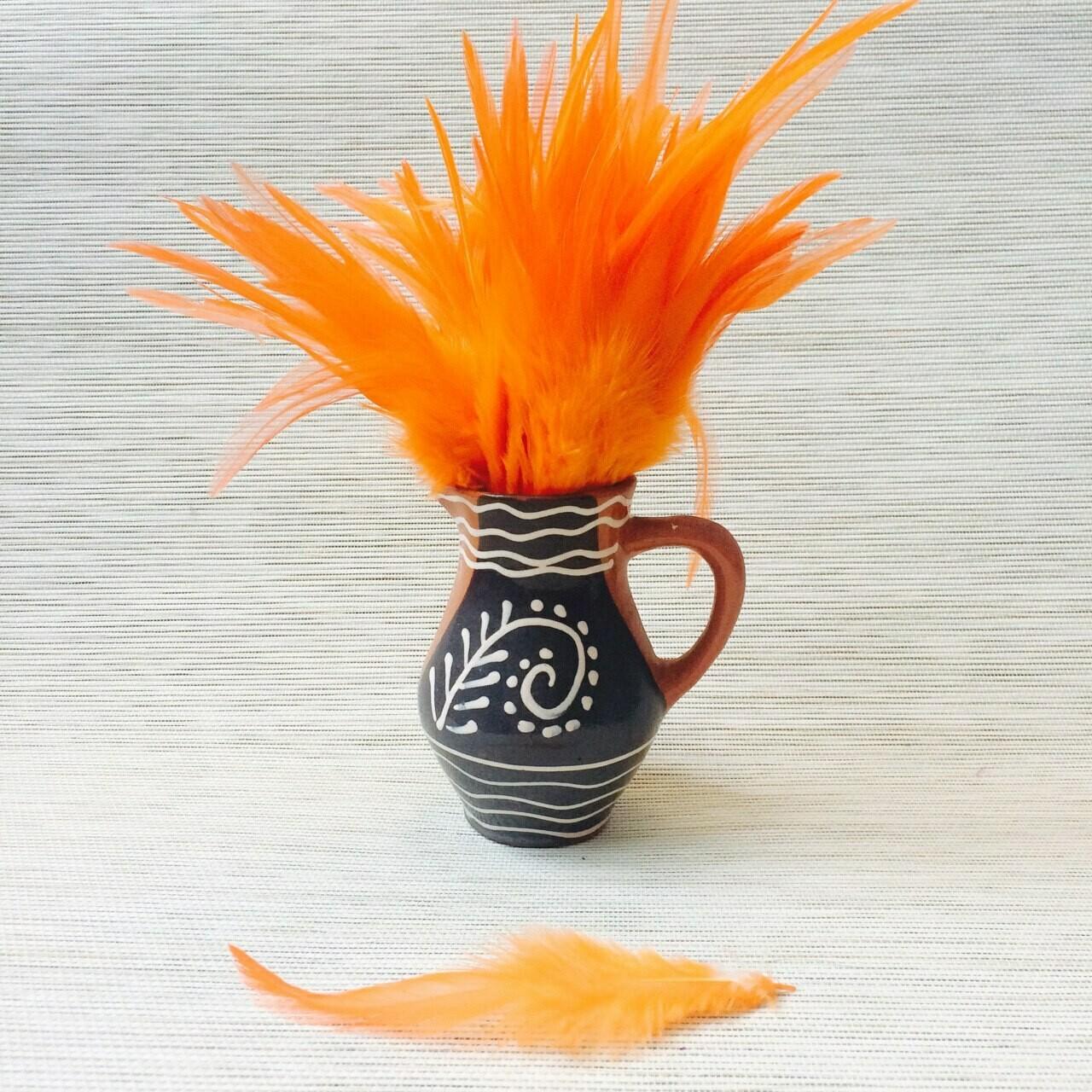 Перья петуха оранжевые 13 - 18 см. 20 шт.