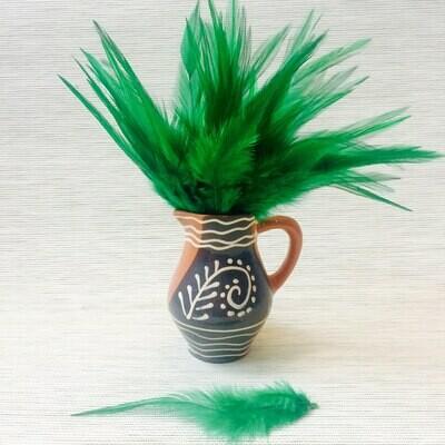 Перья петуха зеленые 15 - 20 см. 20 шт.