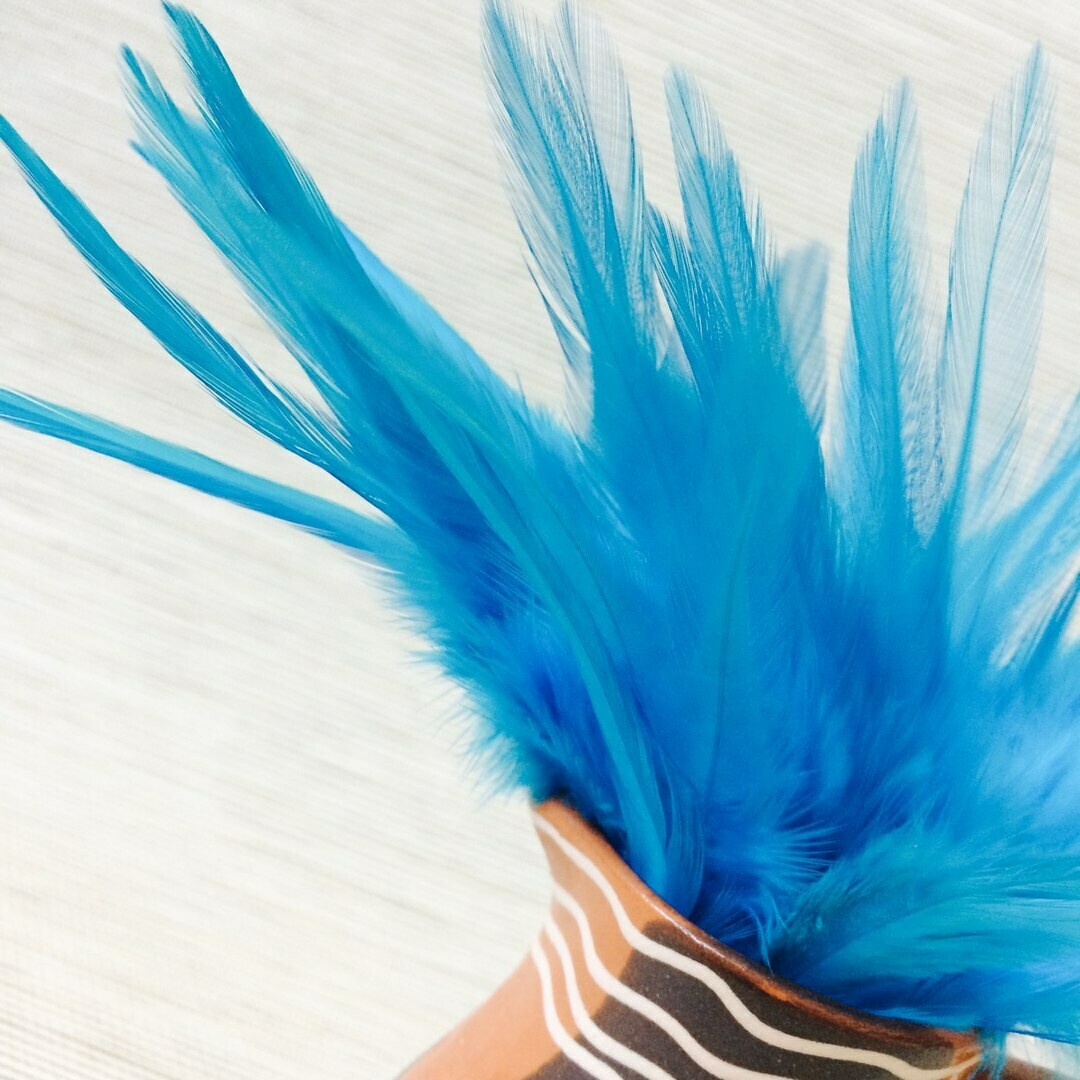 Перья петуха голубые 10 - 15 см. 20 шт.
