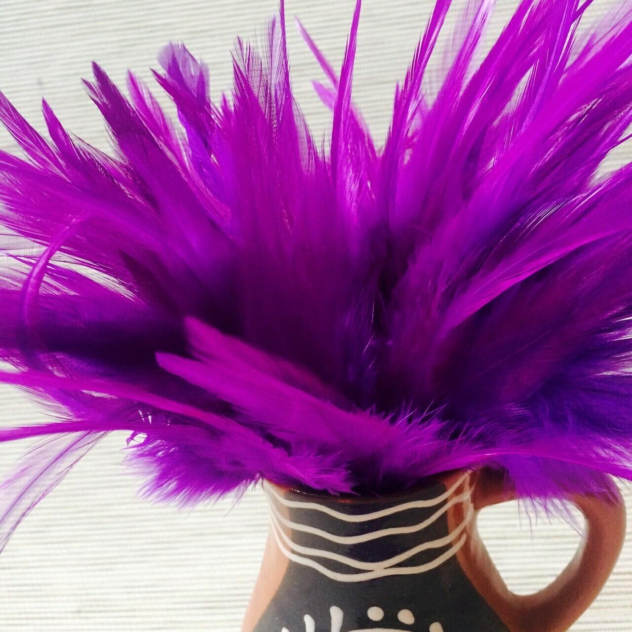 Перья петуха фиолетовые 10 - 15 см. 20 шт.