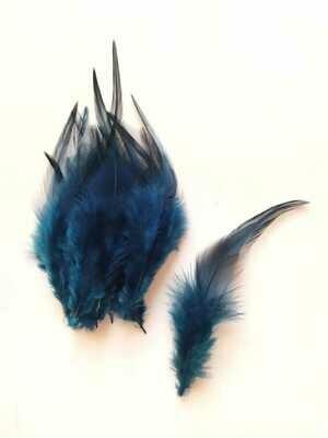 Перья петуха темно-синие 7 - 12 см. 20 шт.