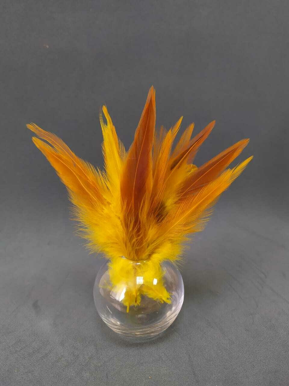 Перья петуха желто-коричневые 13 - 18 см. 20 шт.