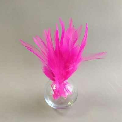 Перья петуха ярко-розовый 5 - 10 см. 20 шт.