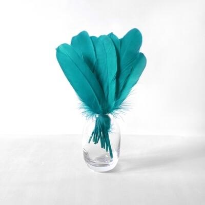 Гусиные перья аквамарин ровные 20шт.