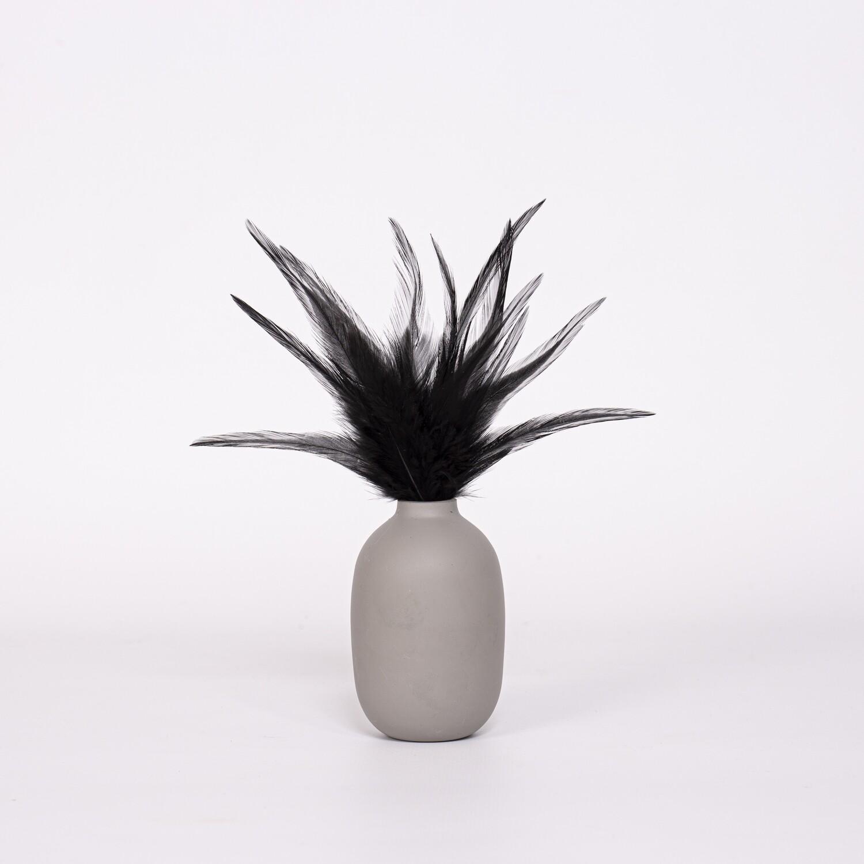 Перья петуха черные 13 - 18 см. 20 шт.