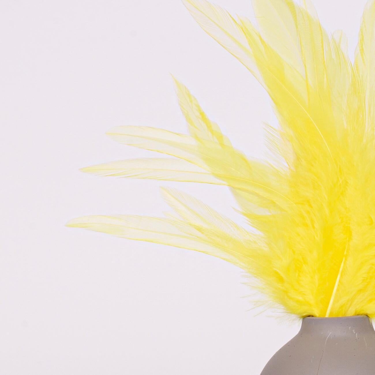 Перья петуха желтые 10 - 15 см. 20 шт.