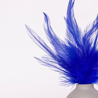 Перья петуха синие 7 - 13 см. 20 шт.