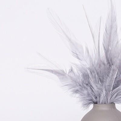 Перья петуха серые 7 - 13 см. 20 шт.