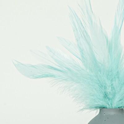 Перья петуха небесно-голубые 7 - 13 см. 20 шт.