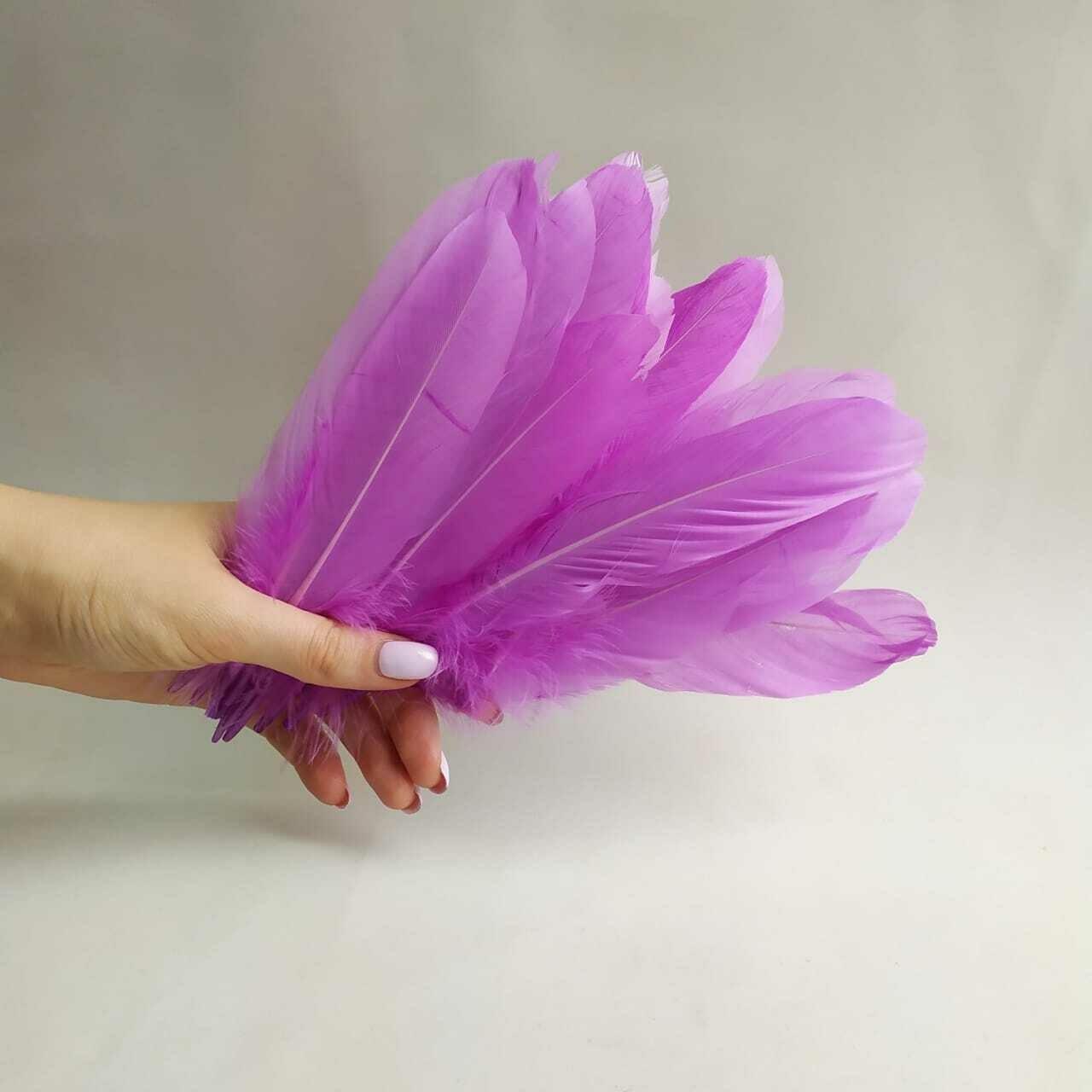 Гусиные перья лавандовые 2 сорт 20 шт.