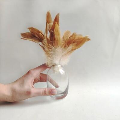 Перья петуха карамельные двухцветные 7 - 13 см. 20 шт.
