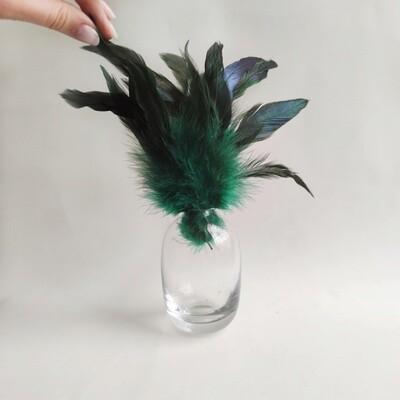 Перья петуха малахит двухцветные 13 - 20 см. 20 шт.