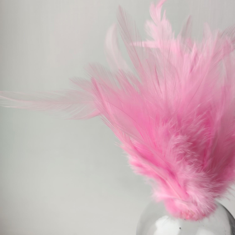Перья петуха розовые 7 - 13 см. 20 шт.