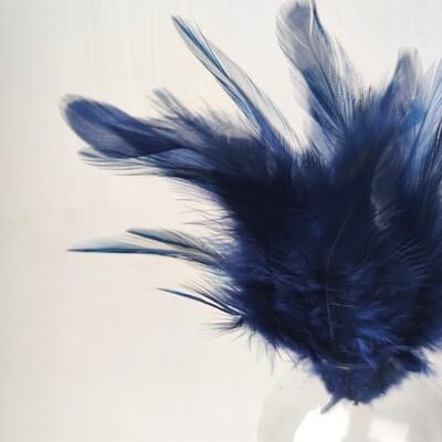 Перья петуха темно-синие 7 - 13 см. 20 шт.