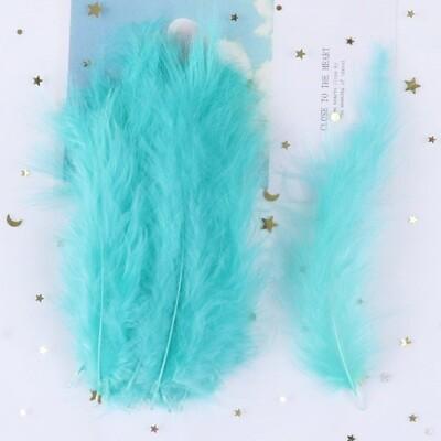 Перья марабу мятно-голубые 15 шт.