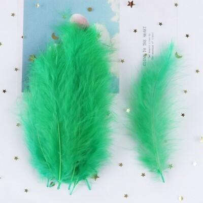 Перья марабу зеленые 15 шт.