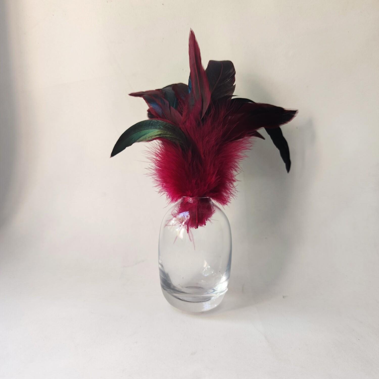 Перья петуха малиновые двухцветные 15 - 20 см. 20 шт.