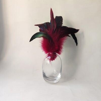 Перья петуха малиновые двухцветные 13 - 20 см. 20 шт.