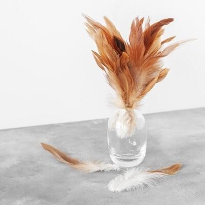 Перья петуха карамельные двухцветные 13 - 20 см. 20 шт.