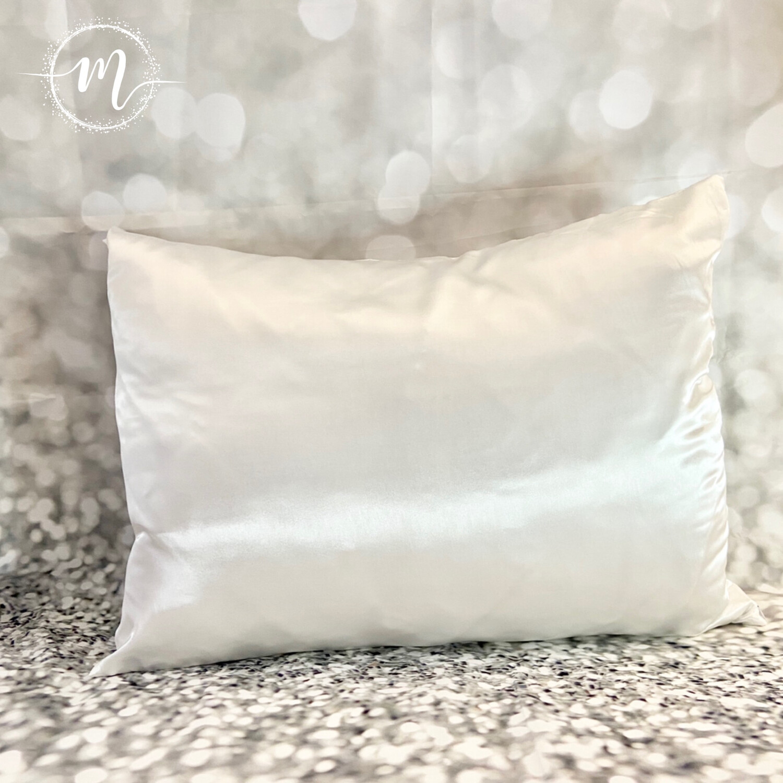 Taie d'oreiller en satin Blanc