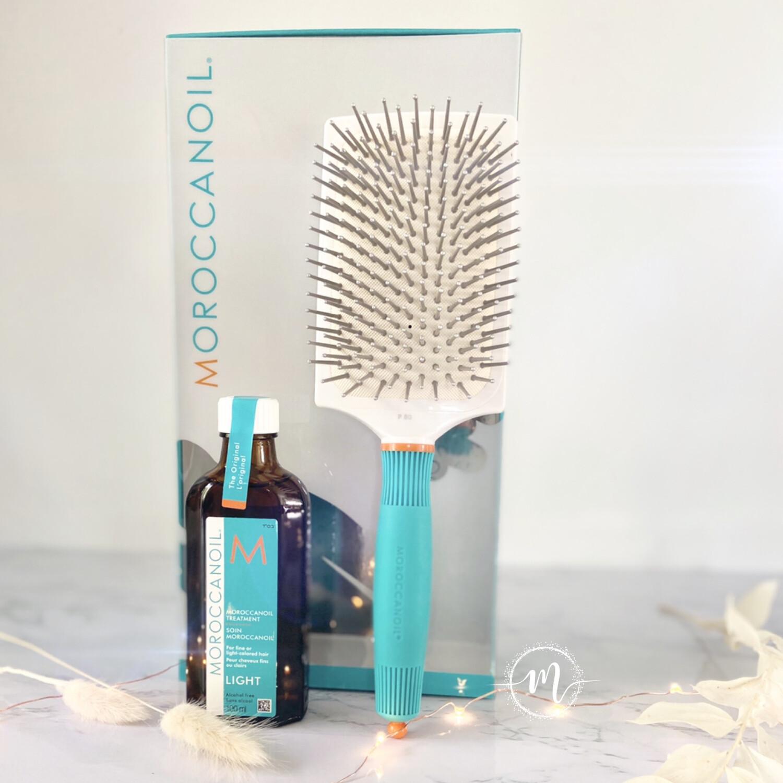 Coffret Huile Light + Brosse Padle de lissage Moroccanoil
