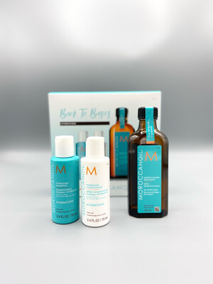 "Coffret ""Back To Basics"" Hydratation Huile Classique Traitement Original Moroccanoil 100ml + Shampooing & conditioner hydratation 70ml"