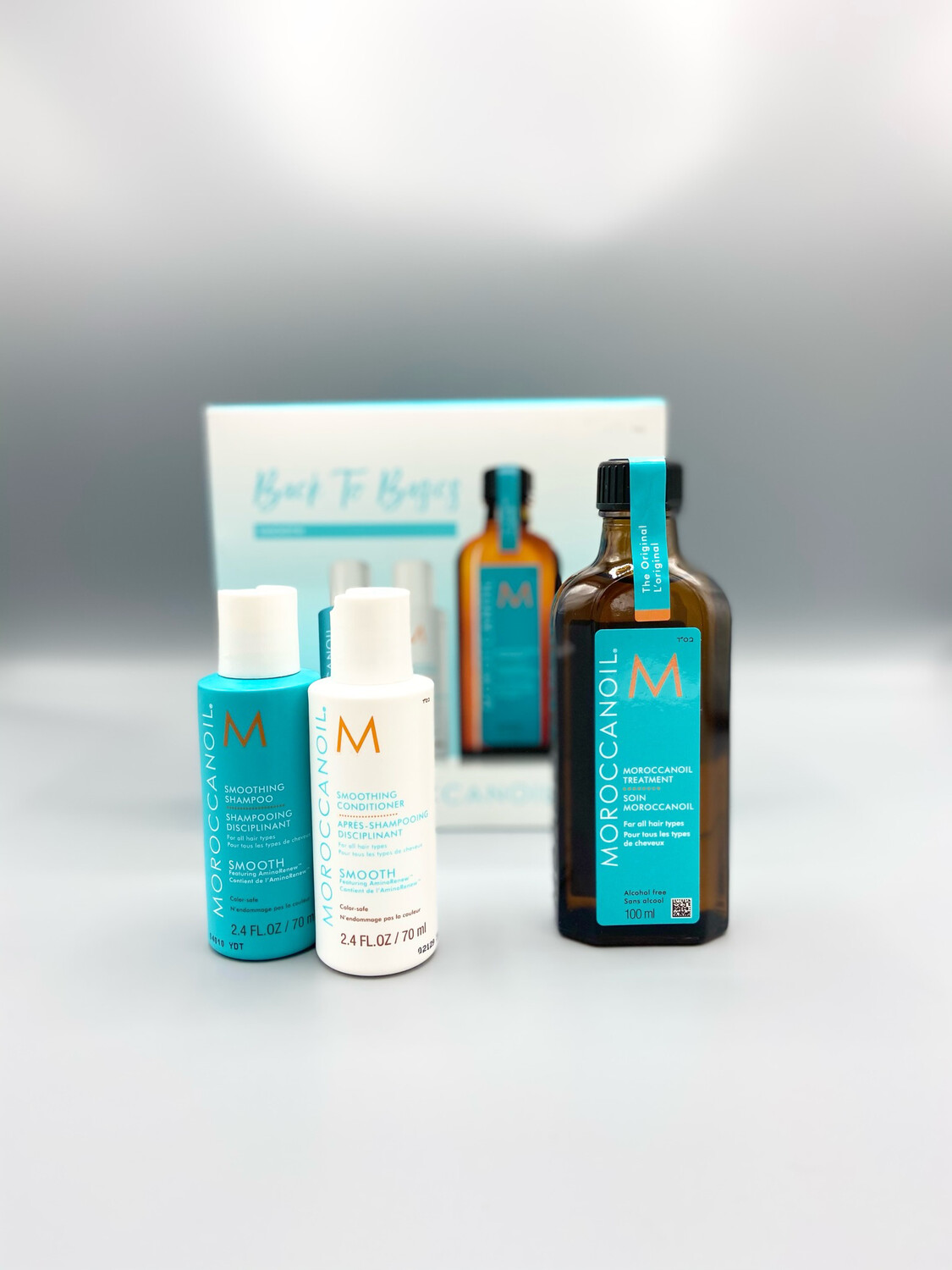"""Coffret """"Back To Basics"""" Smooth Huile Classique Traitement Original Moroccanoil 100ml + Shampooing & conditioner Smooth 70ml"""