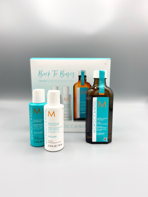 "Coffret ""Back to Basics"" Huile Light Traitement Moroccanoil 100ml + 2€ le rituel Shampooing et conditioner Volume 70ml"