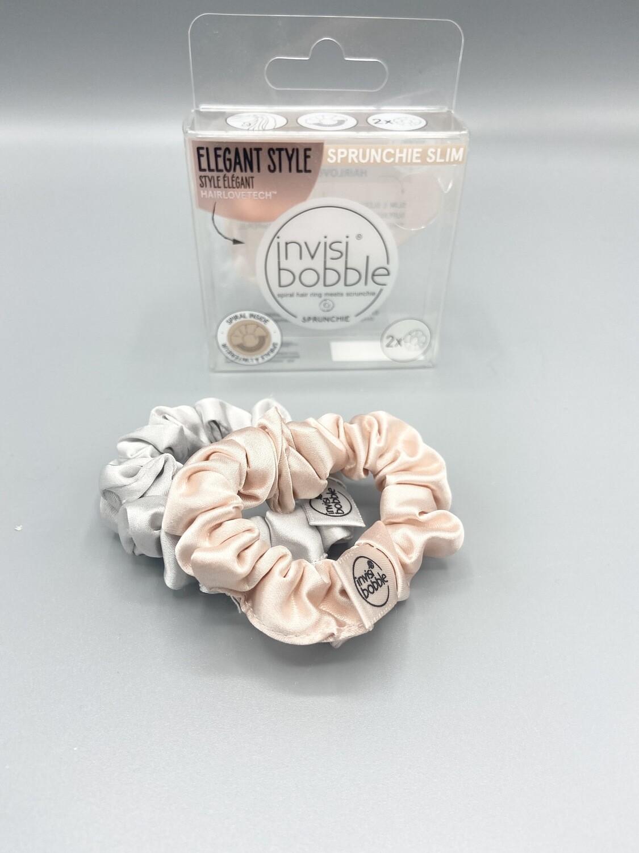 Chouchou invisibobble Sprunchie Slim en satin Rose pastel & Gris perle