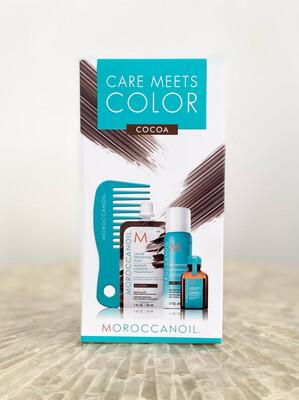 Coffret Care Meets Color Cocoa Masque pigmentant + shampooing sec dark + huile + peigne Moroccanoil