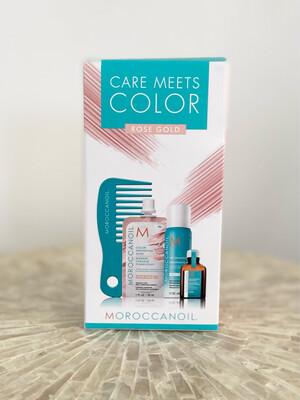 Coffret mini Care Meets Color Rose Gold Masque pigmentant + shampooing sec light + huile + peigne Moroccanoil