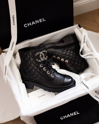 Chanel Combat Boots - Black, New In Box