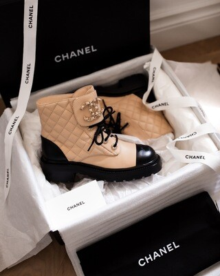 Chanel Combat Boots - Beige/Black, New In Box