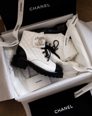 Chanel Combat Boots - White/Black, New In Box