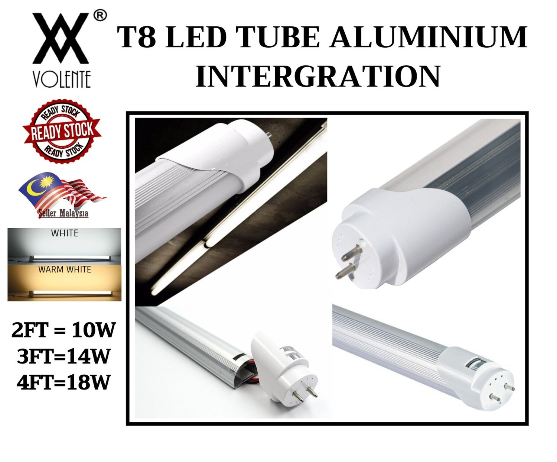 T8 LED TUBE INTERGRATED ALUMINIUM 2FT 3FT 4FT 9W 14W 18W