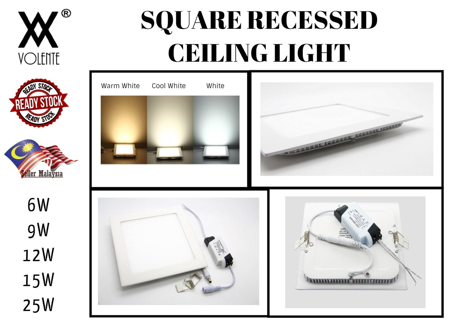 Ultra Thin Square LED Panel Recessed Ceiling Lamp