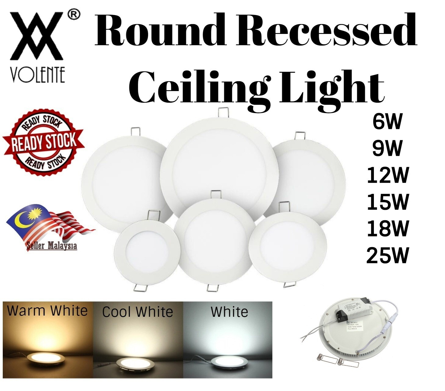Round LED Panel Light White / Warm White / Cool White 6W 9W 12W 15W 18W 25W Recessed Ceiling Lamp Ultra Thin