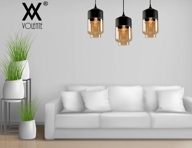 Modern Amber Shade Glass Metal Cylinder Pendant Ceiling Light Bar Bedroom Living Room